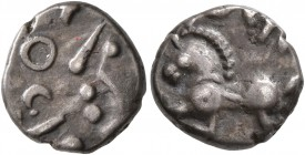 CELTIC, Central Gaul. Sequani. Mid 1st century BC. Quinarius (Silver, 12 mm, 1.88 g, 2 h), Togirix. TOGIRIX Celticized head of Roma to left. Rev. TOGI...
