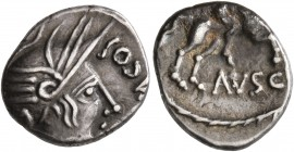 CELTIC, Southern Gaul. Allobroges. Circa 61-40 BC. Quinarius (Silver, 14 mm, 2.00 g, 5 h), Durnacos. [DVRN]ACOS Head ot Athena to right, wearing winge...