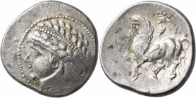 CELTIC, Central Europe. Noricum (West). Circa 2nd to 1st centuries BC. Tetradrachm (Silver, 25 mm, 11.92 g, 11 h), 'Kugelreiter' type. Wreathed and di...