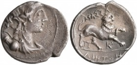 GAUL. Massalia. Circa 125-90 BC. Drachm (Silver, 17 mm, 2.69 g, 7 h). Laureate and draped bust of Artemis to right, wearing pendant earring and pearl ...