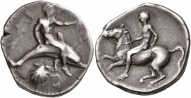 CALABRIA. Tarentum. Circa 430-425 BC. Didrachm or Nomos (Silver, 23 mm, 7.72 g, 5 h). [TAPAΣ] Youthful oikist, nude, riding dolphin to right, his left...