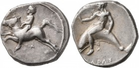 CALABRIA. Tarentum. Circa 405-400 BC. Didrachm or Nomos (Silver, 21 mm, 7.62 g, 4 h). Nude youth on horse galloping to left, holding bridles with both...