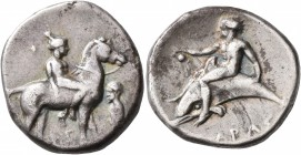 CALABRIA. Tarentum. Circa 365-355 BC. Didrachm or Nomos (Silver, 21 mm, 7.58 g, 9 h). Nude youth riding horse standing right, holding bridle with his ...