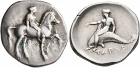 CALABRIA. Tarentum. Circa 365-355 BC. Didrachm or Nomos (Silver, 24 mm, 7.86 g, 5 h). Nude youth on horse prancing right, holding bridles in his left ...