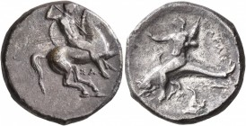 CALABRIA. Tarentum. Circa 332-302 BC. Didrachm or Nomos (Silver, 21 mm, 7.35 g, 10 h), Sa..., magistrate. Nude rider on horse galloping to right, stab...