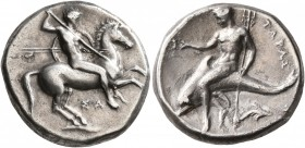 CALABRIA. Tarentum. Circa 315-302 BC. Didrachm or Nomos (Silver, 21 mm, 7.88 g, 10 h), Sa..., magistrate. Nude rider on horse galloping to right, stab...