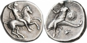 CALABRIA. Tarentum. Circa 302-290 BC. Didrachm or Nomos (Silver, 21 mm, 7.86 g, 6 h), Dai... and Phi..., magistrates. Nude rider on horse galloping to...