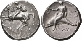 CALABRIA. Tarentum. Circa 302-280 BC. Didrachm or Nomos (Silver, 21 mm, 7.67 g, 6 h), Si.., Philokles and Ly..., magistrates. Nude warrior on horsebac...