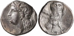 CALABRIA. Tarentum. Circa 280-272 BC. Drachm (Silver, 16 mm, 3.00 g, 1 h). Head of Athena to left, wearing crested Attic helmet decorated with Skylla ...