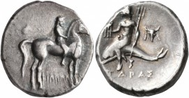 CALABRIA. Tarentum. Circa 272-240 BC. Didrachm or Nomos (Silver, 21 mm, 6.51 g, 12 h), Philenenos, magistrate. Nude youth riding horse standing to rig...