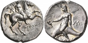 CALABRIA. Tarentum. Circa 240-228 BC. Didrachm or Nomos (Silver, 19 mm, 6.21 g, 6 h), Aristippos, magistrate. Nude youth on horse galloping to right, ...