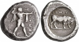 LUCANIA. Poseidonia. Circa 470-445 BC. Didrachm or Nomos (Silver, 19 mm, 7.89 g, 1 2 h). ΠΟΜΕS Poseidon striding to right, brandishing trident with hi...