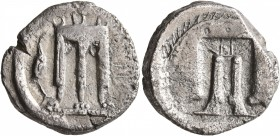 BRUTTIUM. Kroton. Circa 480-430 BC. Didrachm or Nomos (Silver, 20 mm, 7.55 g, 12 h). ϘΡΟ Tripod with three handles and the legs ending in lion's paws;...