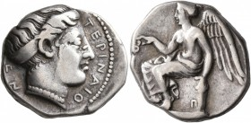 BRUTTIUM. Terina. Circa 420-400 BC. Didrachm or Nomos (Silver, 20 mm, 7.64 g, 5 h). TEPINAIO-N Head of the nymph Terina to right, her hair bound in sp...