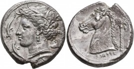 SICILY. Entella (?). Punic issues, circa 320/15-300 BC. Tetradrachm (Silver, 26 mm, 16.71 g, 5 h). Head of Tanit-Persephone to left, wearing wreath of...