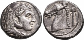 SICILY. Entella (?). Punic issues, circa 300-289 BC. Tetradrachm (Silver, 25 mm, 16.32 g, 5 h). Head of Herakles to right, wearing lion skin headdress...
