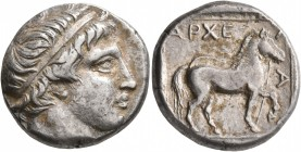 KINGS OF MACEDON. Archelaos Philopatris Ktistes, 413-400/399 BC. Stater (Silver, 22 mm, 10.58 g, 12 h), Aigai. Head of Apollo to right, wearing tainia...