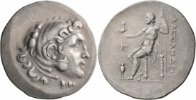 KINGS OF MACEDON. Alexander III 'the Great', 336-323 BC. Tetradrachm (Silver, 35 mm, 16.57 g, 12 h), Myrina, circa 188-170. Head of Herakles to right,...