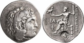 KINGS OF MACEDON. Alexander III 'the Great', 336-323 BC. Tetradrachm (Silver, 32 mm, 16.62 g, 1 h), Phaselis, CY 11 = 208/7 BC. Head of Herakles to ri...