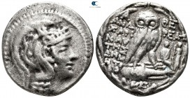 Attica. Athens. ΑΝΔΡΕΑΣ (Andreas), ΧΑΡΙΝΑΥΤΗΣ (Charinautes), and ΔΗΜΗΤ- (Demet-), magistrates circa 165-42 BC. Struck 104/3 BC. Tetradrachm AR. New St...