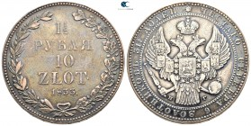 Poland. St. Petersburg.  AD 1833. Partitions of Poland; Russian-polish coins. 1-1/2 Rouble = 10 Zloty AR