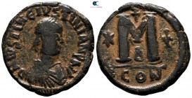 Justin I and Justinian I AD 527. Constantinople. 4th officina. Follis Æ
