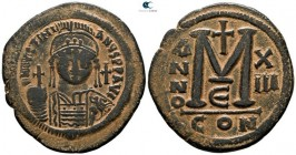 Justinian I AD 527-565. Dated RY 13=AD 539/40. Constantinople. 5th officina. Follis Æ