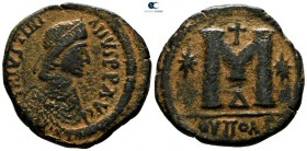Justinian I AD 527-565. Struck AD 537-539. Theoupolis (Antioch). 4th officina. Follis Æ. Class IV