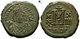 Maurice Tiberius AD 582-602. Dated RY 14=AD 595/6. Theoupolis (Antioch). 3rd officina. Follis Æ