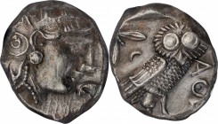ATTICA. AR Tetradrachm (17.08 gms), ca. 400/390-353 B.C. NGC AU, Strike: 4/5 Surface: 2/5. Brushed.