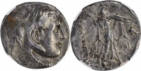 PTOLEMAIC EGYPT. Ptolemy I Soter, 323-283 B.C. AR Tetradrachm, ca. 306-300 B.C. NGC Ch F. Graffito.