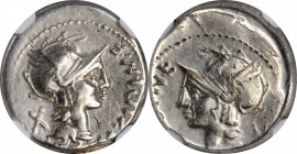 ROMAN REPUBLIC. M. Cipius M.f. AR Brockage Denarius (3.87 gms), Rome Mint, 115-114 B.C.