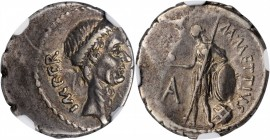 JULIUS CAESAR. AR Denarius (3.93 gms), Rome Mint; M. Mettius, moneyer, Early posthumous issue, 44 B.C. NGC Ch EF, Strike: 3/5 Surface: 5/5.