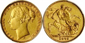 AUSTRALIA. Sovereign, 1879-M. Melbourne Mint. Victoria. PCGS AU-53 Gold Shield.