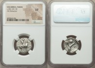 CALABRIA. Tarentum. Ca. 302-281 BC. AR didrachm (20mm, 10h). NGC VF. Sa- and Fi-, magistrates. Helmeted cavalryman on horseback right, thrusting with ...