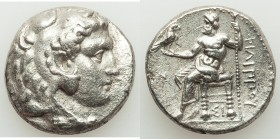 MACEDONIAN KINGDOM. Philip III Arrhidaeus (323-317 BC). AR tetradrachm (25mm, 16.64 gm, 12h). Choice XF, porosity. Lifetime issue of Sidon, dated Regn...