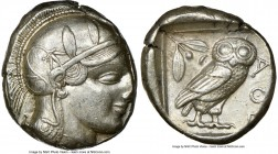 ATTICA. Athens. Ca. 455-440 BC. AR tetradrachm (25mm, 17.20 gm, 2h). NGC AU 4/5 - 4/5. Early transitional issue. Head of Athena right, wearing crested...