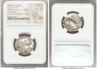 ATTICA. Athens. Ca. 455-440 BC. AR tetradrachm (24mm, 17.18 gm, 2h). NGC Choice XF 5/5 - 4/5. Early transitional issue. Head of Athena right, wearing ...