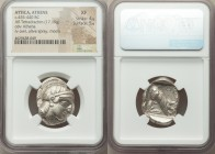 ATTICA. Athens. Ca. 455-440 BC. AR tetradrachm (26mm, 17.15 gm, 11h). NGC XF 4/5 - 5/5. Early transitional issue. Head of Athena right, wearing creste...