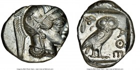 ATTICA. Athens. Ca. 440-404 BC. AR tetradrachm (26mm, 17.19 gm, 4h). NGC MS 2/5 - 5/5, flan flaw. Mid-mass coinage issue. Head of Athena right, wearin...