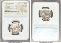 ATTICA. Athens. Ca. 440-404 BC. AR tetradrachm (25mm, 17.19 gm, 4h). NGC Choice AU 5/5 - 4/5. Mid-mass coinage issue. Head of Athena right, wearing cr...