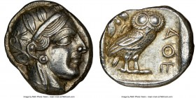 ATTICA. Athens. Ca. 440-404 BC. AR tetradrachm (24mm, 17.19 gm, 5h). NGC Choice AU 5/5 - 4/5. Mid-mass coinage issue. Head of Athena right, wearing cr...