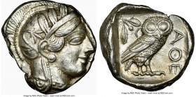 ATTICA. Athens. Ca. 440-404 BC. AR tetradrachm (24mm, 17.21 gm, 4h). NGC AU 5/5 - 4/5. Mid-mass coinage issue. Head of Athena right, wearing crested A...