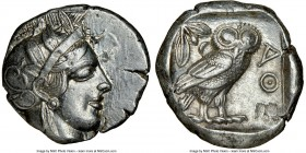 ATTICA. Athens. Ca. 440-404 BC. AR tetradrachm (25mm, 17.18 gm, 5h). NGC AU 4/5 - 4/5. Mid-mass coinage issue. Head of Athena right, wearing crested A...
