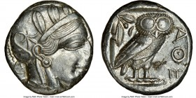 ATTICA. Athens. Ca. 440-404 BC. AR tetradrachm (24mm, 17.19 gm, 2h). NGC AU 3/5 - 4/5, flan flaw. Mid-mass coinage issue. Head of Athena right, wearin...