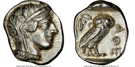 ATTICA. Athens. Ca. 440-404 BC. AR tetradrachm (26mm, 17.18 gm, 7h). NGC Choice XF 5/5 - 4/5. Mid-mass coinage issue. Head of Athena right, wearing cr...