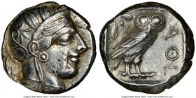 ATTICA. Athens. Ca. 440-404 BC. AR tetradrachm (24mm, 17.19 gm, 6h). NGC Choice XF 5/5 - 3/5, marks. Mid-mass coinage issue. Head of Athena right, wea...