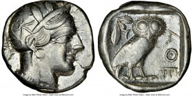 ATTICA. Athens. Ca. 440-404 BC. AR tetradrachm (25mm, 17.18 gm, 9h). NGC XF 2/5 - 4/5, . Mid-mass coinage issue. Head of Athena right, wearing crested...