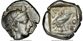 ATTICA. Athens. Ca. 440-404 BC. AR tetradrachm (27mm, 17.17 gm, 5h). NGC VF 5/5 - 4/5. Mid-mass coinage issue. Head of Athena right, wearing crested A...