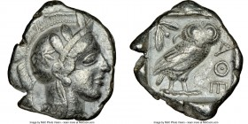 ATTICA. Athens. Ca. 440-404 BC. AR tetradrachm (24mm, 17.16 gm, 7h). NGC VF 5/5 - 4/5. Mid-mass coinage issue. Head of Athena right, wearing crested A...